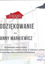 Podziękowania dla Anny Markiewicz